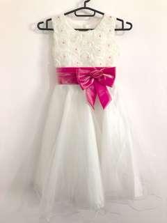 Girl white dress for wedding and flower girl