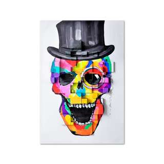 Skull with Hat 3D Art Canvas