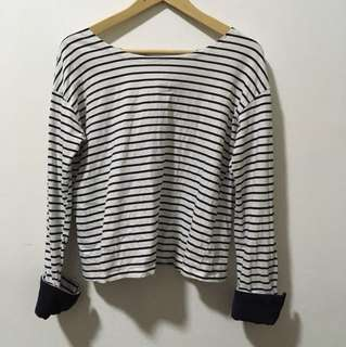 BOAT NECK LONG SLEEVE STRIPES TEE