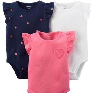 Carter's 3-Pack Heart Flutter-Sleeve Bodysuits