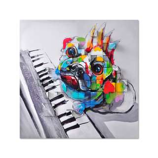 Dog On Piano 3D Art Canvas