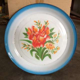Vintage Enamel Tray with Lily flowers