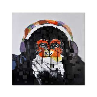 Monkey Headphones 3D Art Canvas