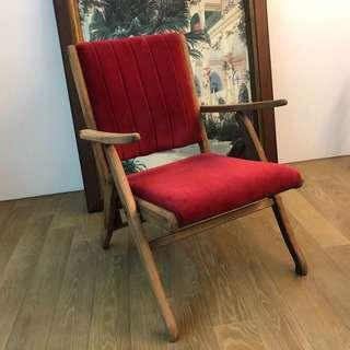 老木頭折疊復古椅(新換的絨布)