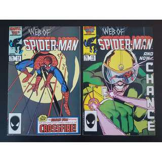 Web of Spider-Man #14 & 15 (1986 1st Series)- )-Set Of 2, Black Fox and the first appearance of Chance!