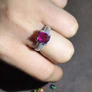 Natural rubelite ring