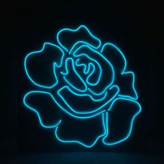 LED Neon Light Rose 'Baby Blue'
