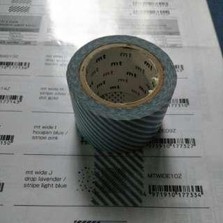 🚚 (二手)mt 絕版 寬版 紙膠帶 水藍色斜紋