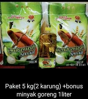 Beras Paket 5 Kg cendrawasi Bonus minyak goreng 1liter