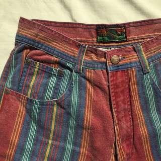 Vintage Structure Jeanswear Multicolor Striped Shorts