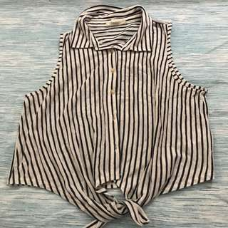 F21 Collared Striped Top