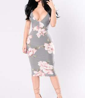 Passion Flower Dress (Grey)
