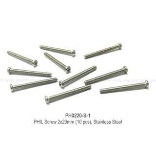 PHILIP Screw 2x20mm (10pcs), Stainless Steel. Code: PH0220-S-1