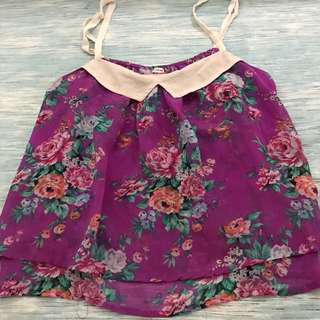 F21 Floral Cropped Top