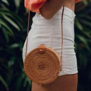 Ulu the label- ratan round straw bag