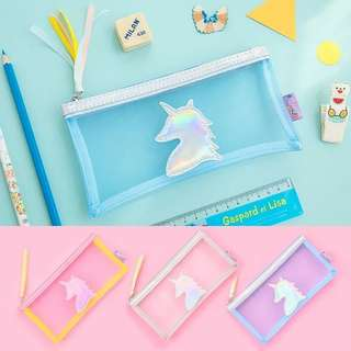 UNICORN TRANSPARENT PENCIL CASE / MAKE UP POUCH