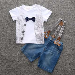 Kid Boy Clothing Summer T-shirt + Jeans Short Pants + Cowboy suspenders