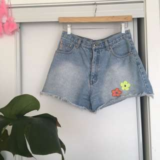 Patched Jean Shorts