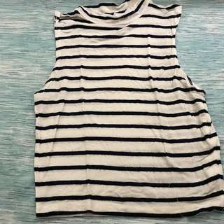 Cotton On Striped Turtleneck Cropped Top