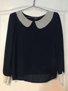Imported lightweight chiffon top dark blue used once srp 1,200
