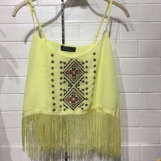 (BRAND NEW) Yellow fringe top