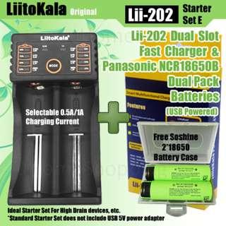 Liitokala Lii-202 Dual Slot USB Powered Starter Set E With Panasonic NCR18650B Dual Pack - 18650 Battery Charger