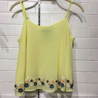 (BRAND NEW) Yellow floral hem top