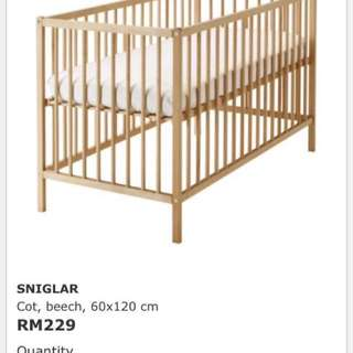 Ikea Baby Cot with mattress