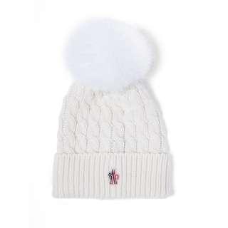 MONCLER - 羊毛球針織毛線帽