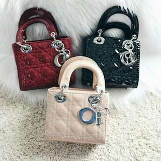 Lady Di0r Petite Mini Patent Leather Bag
