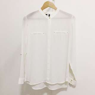 Mango White Polo Top