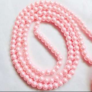 🚚 8mm Pink Glass Pearls Glass Beads - Approx 105 beads