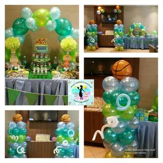 Sports Theme Cake & Cupcake Tower with Balloon Decors for Birthday Party