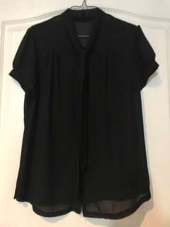 Womens blouse chiffon black with bow size S new srp800