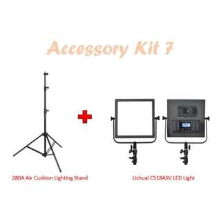 Air Cushion Lighting Stand (280cm) + LiShuai Bi-Color C518ASV LED Light