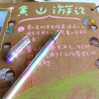 6in1 Plastic Watercolor Pens Marker Pen Drawing Writing DiY