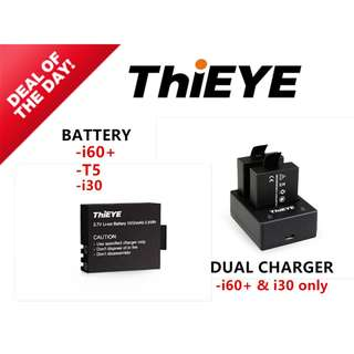 THIEYE Action Camera Extra Battery dual charger for i60+ T5 T5e i30