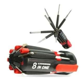 Obeng senter 8in1 lampu LED multifungsi perkakas screwdriver - HPR004