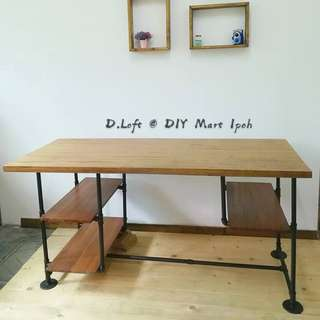 Industrial Loft Style Natural Hard Wood Multifunctional Desk Study Table