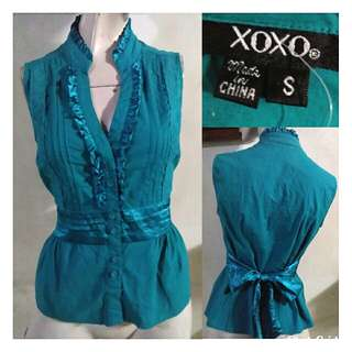 SALE preloved classy XOXO turquoise blue small blouse