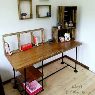 150cm Industrial Style Natural Hard Wood Study Desk Multifunctional Table