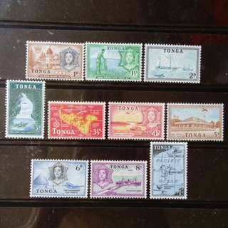 [lapyip1230] 英屬東加王國 1953年 雙色套印(至壹仙令) 全套 Set Mint