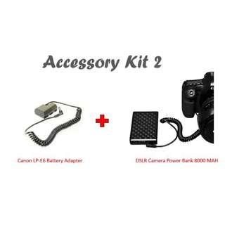 DSLR Camera Power Bank 8000 MAH + Canon LP-E6 Battery Adapter