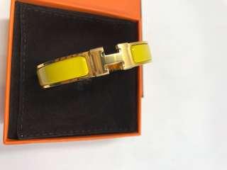 Hermes Bracelet 黃色金扣 罕見全新購自巴黎