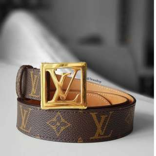 Authentic Louis Vuitton Monogram Frame Belt 85cm LV