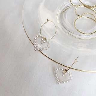 愛心珍珠圓圈圈耳環