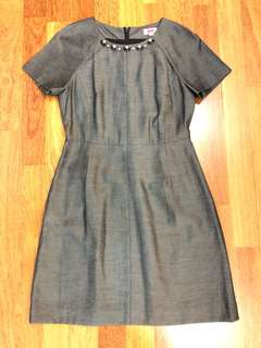 Dark Grey Embellished Work Dress, Size L