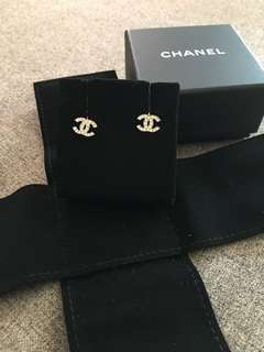 Chanel Mini Silver Crystal CC Earrings