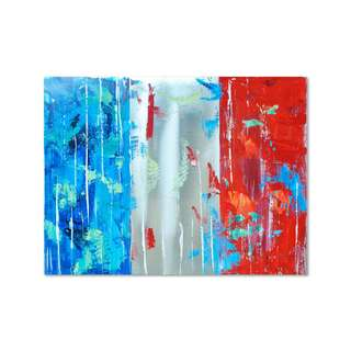 French Flag Metallic Oil Painting