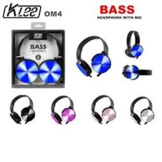 ORIGINAL KLEE OM4 HEADPHONE BASS WITH MIC HEADSET HANDFREE XB450 XB-450 XB 450